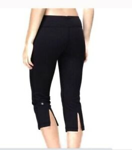 lululemon tadasana slit crop black grey sz 4  ebay