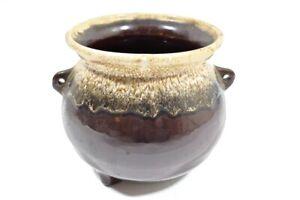 Vintage Pottery Drip Glaze Cauldron Footed Planter Brown Beige MCM Jardiniere