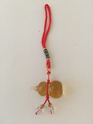FENG SHUI YELLOW GLASS CITRINE COLOR WU LOU LUO GUORD AMULET CHARM FOR HEALTH