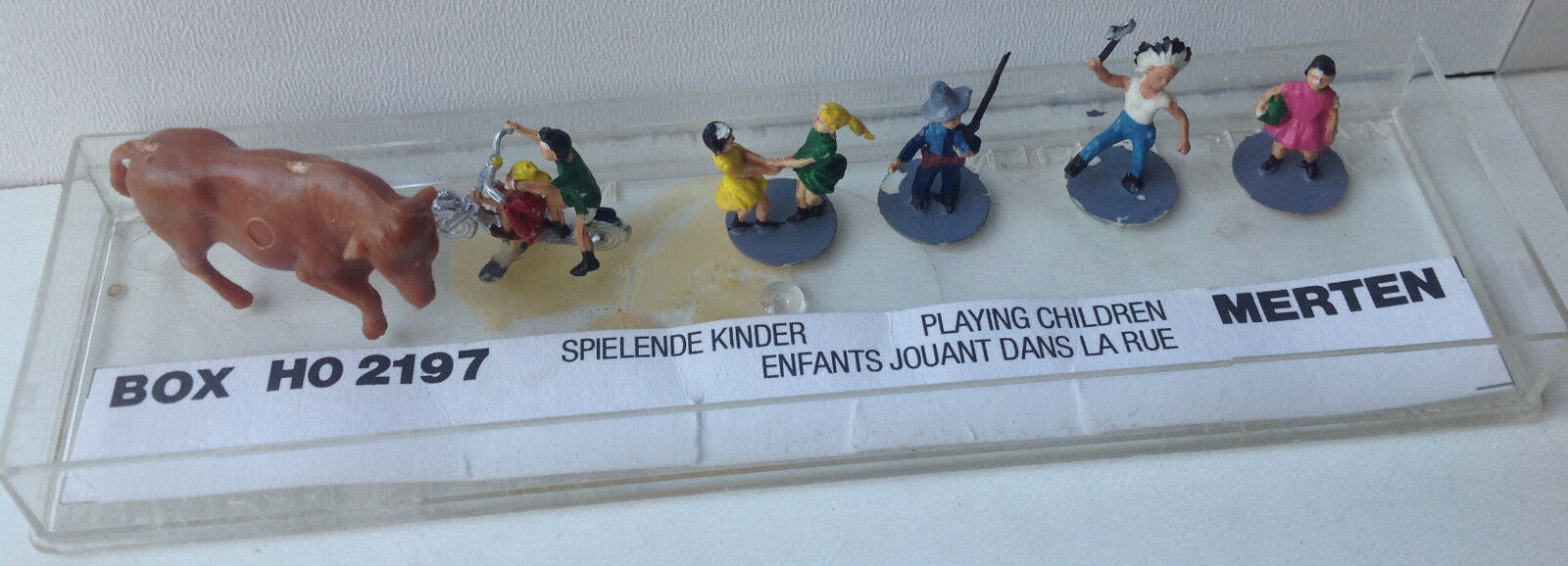 MERTEN HO Scale 2197  Miniature Plastics - Figures - Cowboy, Indian, Cow, Kids