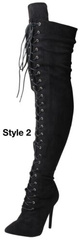 Womens Black Heel Suede Stretch Wide Calf Fit Over The Knee High Stretchy Boots