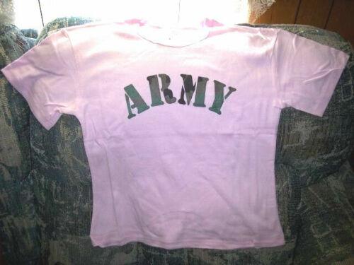 Junior Girls Pink Shirt Camo Shirt Small Army Tshirt Military Camouflage Shirt