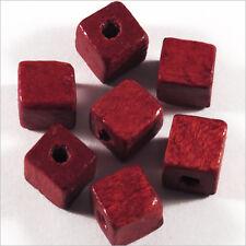 Lot de 40 Perles Cubes en Bois 8mm Bordeaux