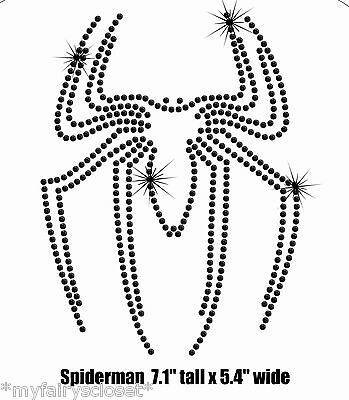 "7.1"" black Spiderman spider iron on rhinestone transfer applique patch superhero"