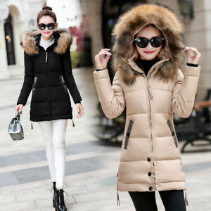 Women-039-s-Hooded-Jacket-Quilted-Padded-Puffer-Fur-Collar-Warm-Winter-Parka-Coat