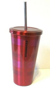 Starbucks-2014-Red-amp-Pink-16oz-Grande-Stainless-Steel-Tumbler-Cup-w-Straw