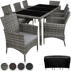 Détails sur Ensemble Salon de jardin en résine tressée poly rotin table  chaises set 8+1