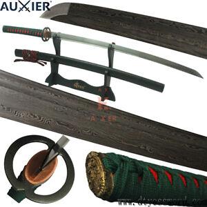 AUXIER-Full-Tang-Damascus-Steel-Carbon-Steel-Blade-Japanese-Samurai-Katana-Sword