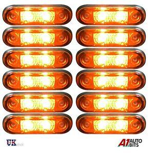 12x-12v-2-led-Orange-Amber-Side-Markers-Indicator-Flush-Fit-Lights-Trailer-Lorry