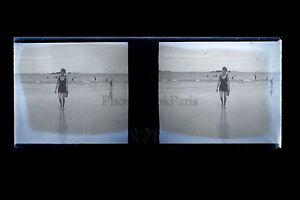 Vacanze Spiaggia Francia Foto Amateur Placca Stereo Negativi A