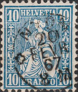 SUISSE-SWITZERLAND-SCHWEIZ-1867-034-NYON-034-Vaud-CDS-Mi-23-10c-blue