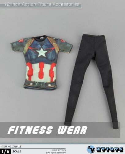 """ZY Toys 1//6 Captain America Graphique T Shirt Leggings Set Pour 12/"""" figure féminine"""