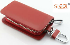 Genuine-Leather-Car-Keychain-Key-Holder-Bag-Wallet-Cover-Zipper-Key-Chain-Case
