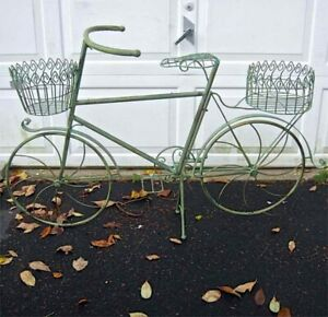 Bicycle Plant Holder Wrought Iron Antique Mint Finish