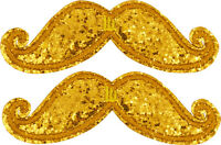 Shwings Gold Sparkle Mustache Clip On Wings For Shoes Designer Shwings 70102