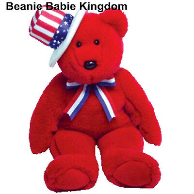 "TY BEANIE BUDDIE * SAM * THE RED TEDDY BEAR WEARING A HAT 15"" TALL - RARE"