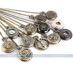 Antique-Vintage-Bronze-Tone-Men-Pocket-Chain-Quartz-Pendant-Watch-Necklace-Gift