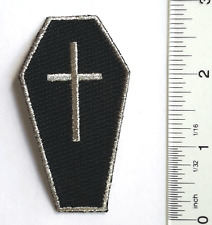 Black CROSS Casket COFFIN EMBROIDERED PATCH Sew-on//Iron-on JACKET Badge CREST