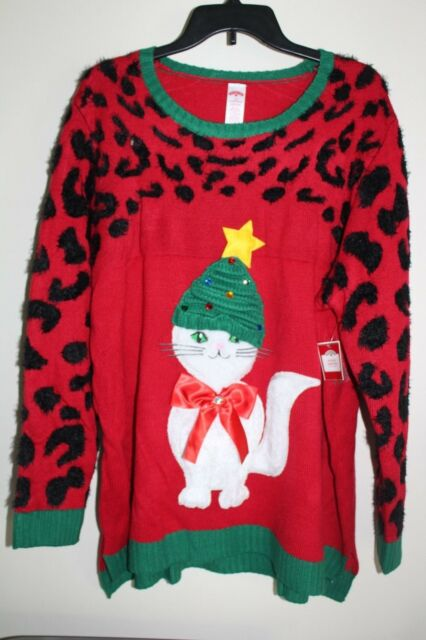 Cat Christmas Sweater.Holiday Time Slouchy Hat Cat Christmas Sweater Adult Ladies 2x 20 22