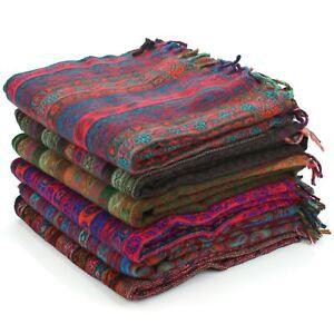 Acrylic-Wool-Blanket-Shawl-Wrap-Throw-Finest-Softest-India-Stripe-Paisley-Travel