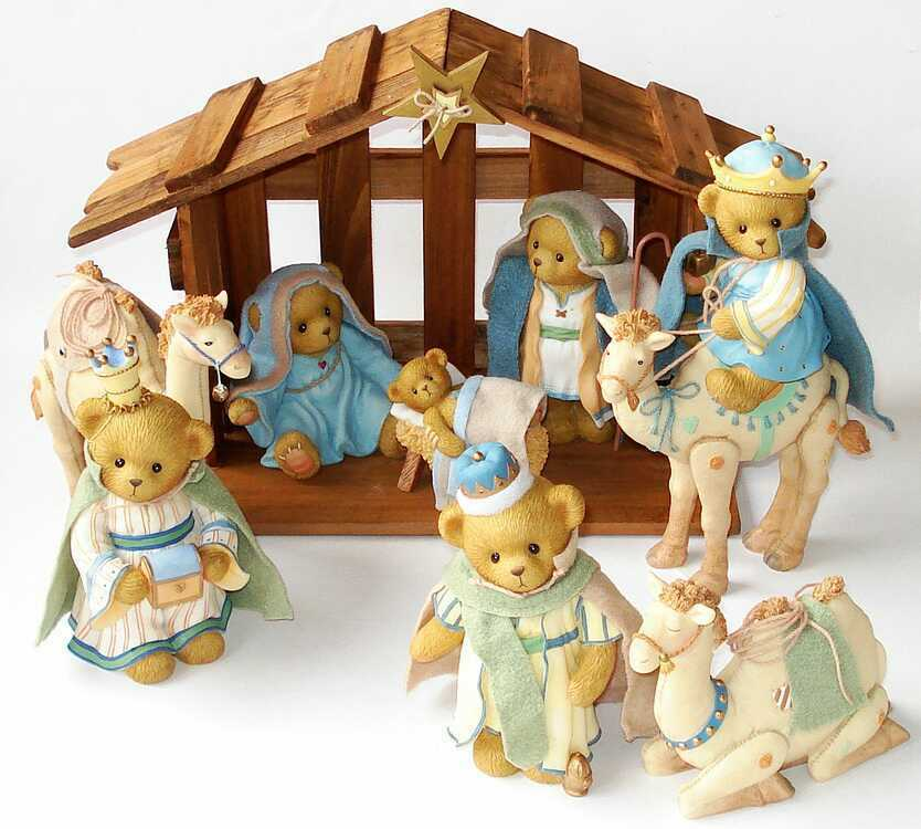 Cherished Teddies Krippen Nativity Set - O' Little Town Of Bethlemen - 4014783