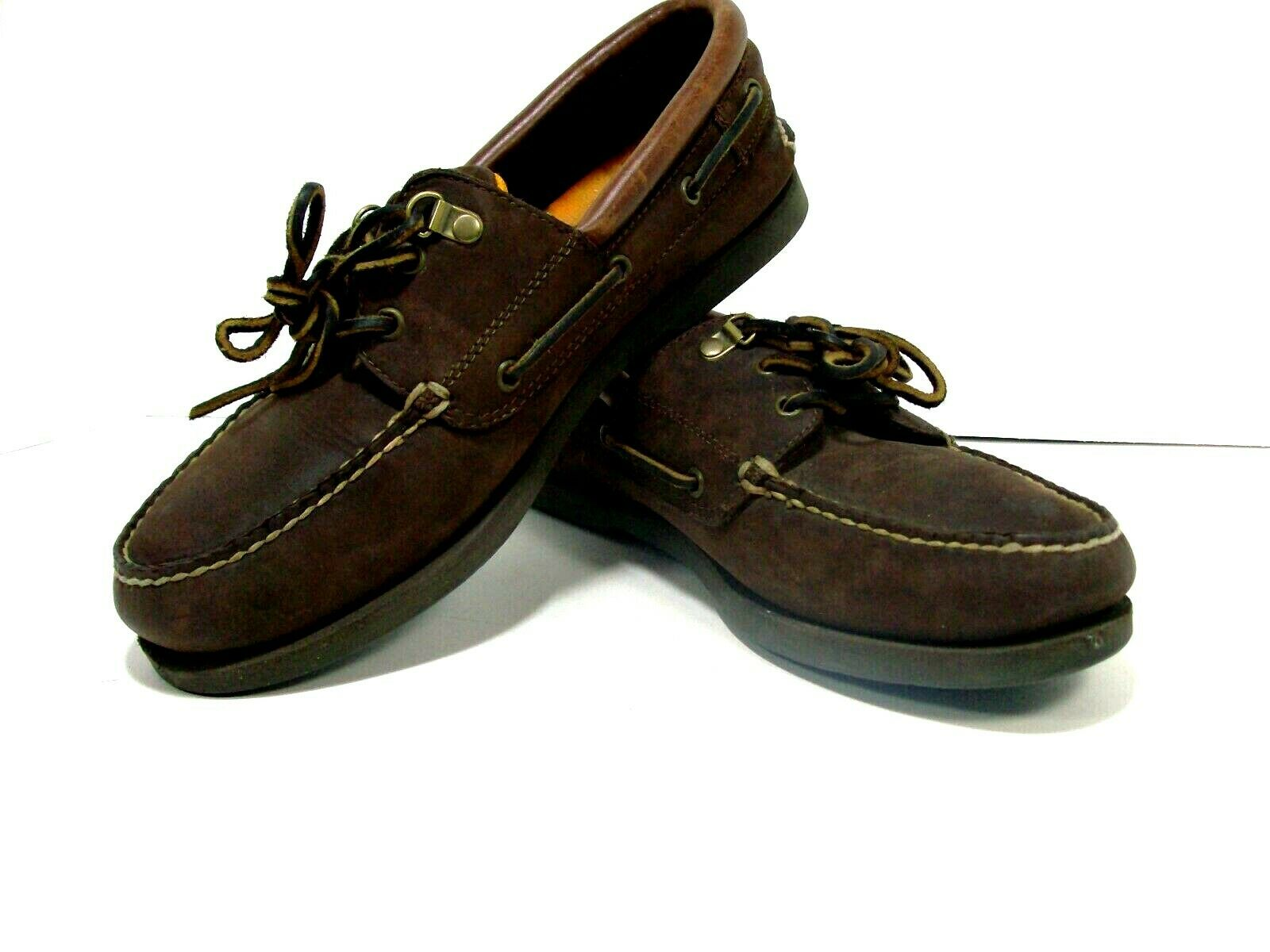 Cabelas brown leather boat shoes deck dock moc loafers shoes mens sz10 MED