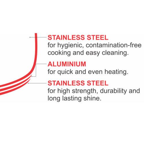 VINOD 18/8 Stainless steel 3 Ltrs Sandwich Bottom Pressure Cooker (Regular)