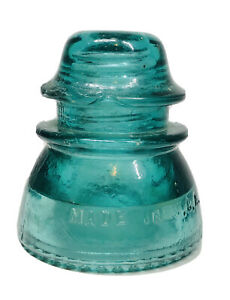 Vintage-Hemingray-Glass-Insulator-42-Blue-Green-Aqua-Made-in-U-S-A