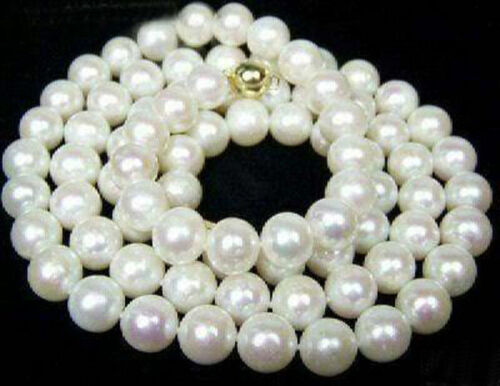 "14K GP Clasp LONG 33/"" 7-7.5mm White Akoya Cultured Pearl Jewelry Necklace"