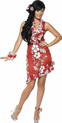 Womens Hawaiian Beauty Costume Luau Dancer Floral Print Fancy Dress Adult Medium