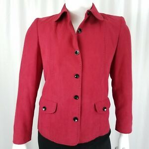 Alfred-Dunner-Women-039-s-Jacket-Size-10-Faux-Suede-Black-Stiching-Red