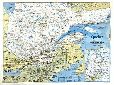 a Vintage 1980 National Geographic Map Quebec /& Newfoundland w//Historical Notes
