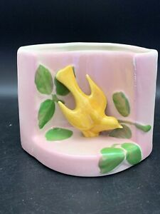Vintage-Mid-Century-Yellow-Bird-Pink-Vase-WALL-POCKET-PLANTER-Pottery
