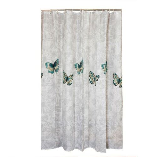 Butterfly Shower Curtains Extra Long Polyester Fabric Bath Curtains Mould Proof