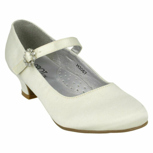 H3R067 GIRLS SPOT ON LOW HEEL BUCKLE UP IVORY SATIN BRIDESMAID COURT SHOES