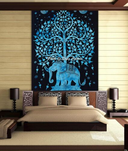 Elephant Tree OF Life Mandala Tapestry Hippie Bohemian Single Size Wall Hanging