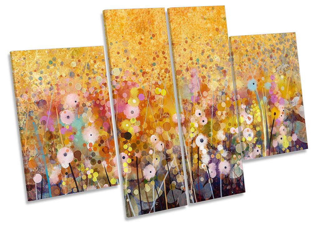 Floreale Acquerello REPRO Arancione incorniciato stampa tela quattro PANNELLO Wall Art