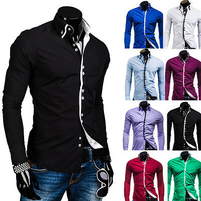 Men Luxury Casual Slim Fit Long Sleeve Dress Shirts Blouse Solid Pullover Tops