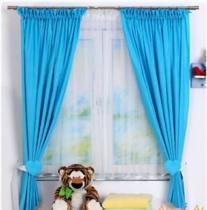 Détails sur 2pc Bébé Chambre à Coucher Rideaux Enfants Chambre Aqua  Turquoise Uni 2 panneaux en coton- afficher le titre d\'origine