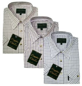 Mens-Country-Classic-Short-Sleeve-Tattersall-Check-Shirt-PolyCotton-14-99-S-4XL