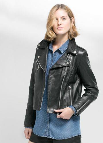Womens Black Leather Jacket Real Soft Lambskin Biker Motorcycle Slim Fit Jacket