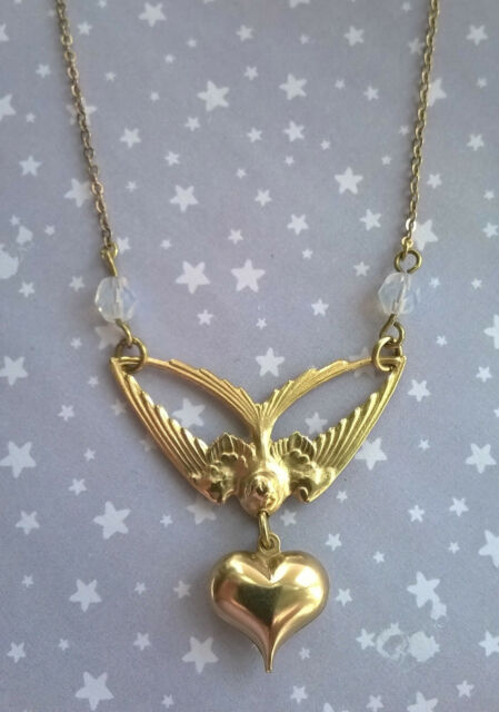 Vintage Deco Style Swallow Bird Heart Czech Glass Opal Bead Necklace Gold Brass