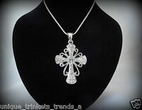 Baptism First Holy Communion Confirmation Gift Her Silver Cross Necklace Pendant