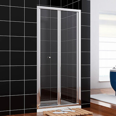 Bifold shower door glass screen 700/760/800/860/900/1000mm NEXT DAY DELIVERY
