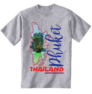Phuket-Thailandia-T-Shirt-Grigio-Cotone-Nuovo