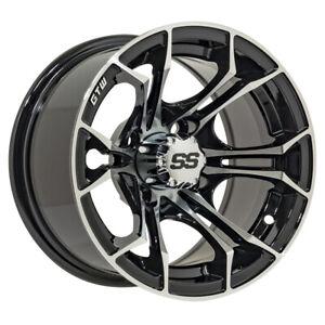 Set Of 4 Gtw Spyder 14 Inch Machined Black Golf Cart Wheel With 3 4 Offset Ebay