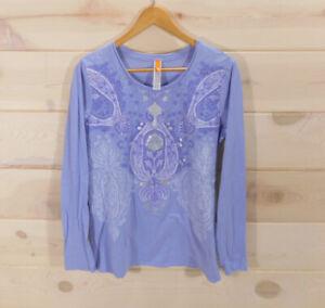 Lucy-Women-039-s-Sz-L-Long-Sleeve-Shirt-Top-Light-Purple-Yoga-Floral-Print-Cotton
