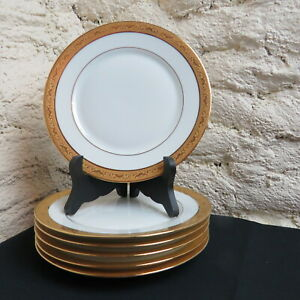 Raynaud-Limoges-6-Teller-Dessert-aus-Porzellan-Dekor-Ambassador-Gold