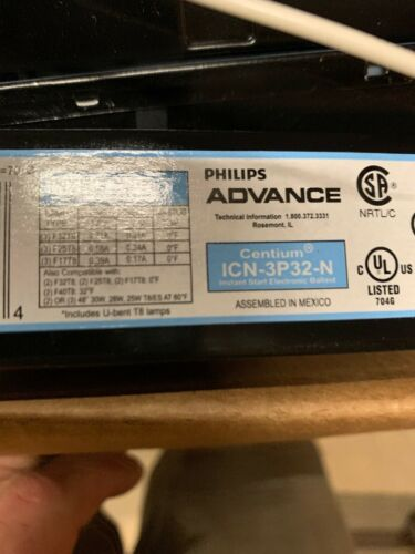 20 NEW PHILIPS ICN-3P32-N ADVANCE CENTIUM BALLASTS T8 3 or 2 TUBE 120 OR 277 V