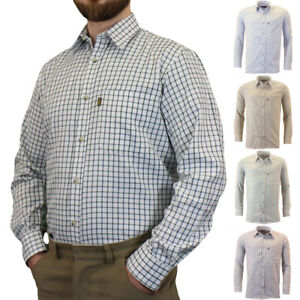 Mens-Game-Tattersall-One-Pocket-Casual-Long-Sleeve-Collared-Check-Shirt